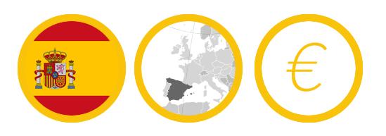 Bandera de España,  Localización en el mapa de europa y Moneda